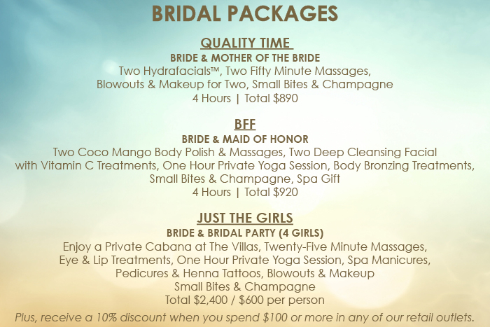 Bridal spa packages for other dresses dressesss for Weekend girl getaways spa packages